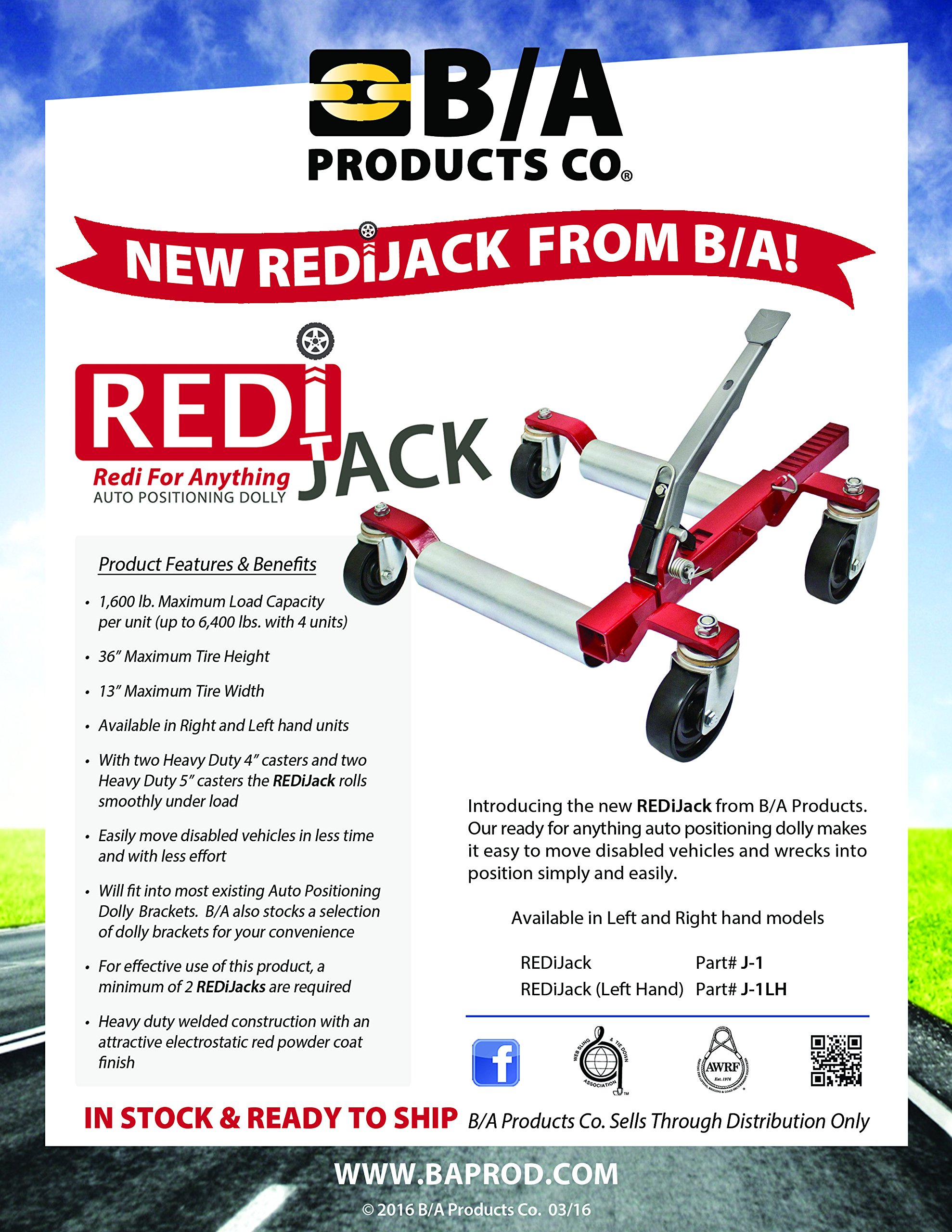 Ships in 1 to 2 Business Days! BA Products J-1, REDIJAK AUTO POSITIONING DOLLY for Moving Cars, Trucks, Vehicles. Compare Redi Jak to GoJak