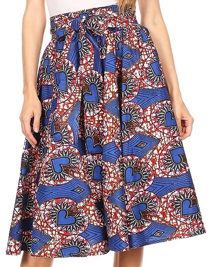 3bba70e22 Sakkas W060 - Adisa Ankara African Wax Print Culotte Pants Colorful with  Elastic Waist - Blue/Red - OS: Amazon.co.uk: Clothing