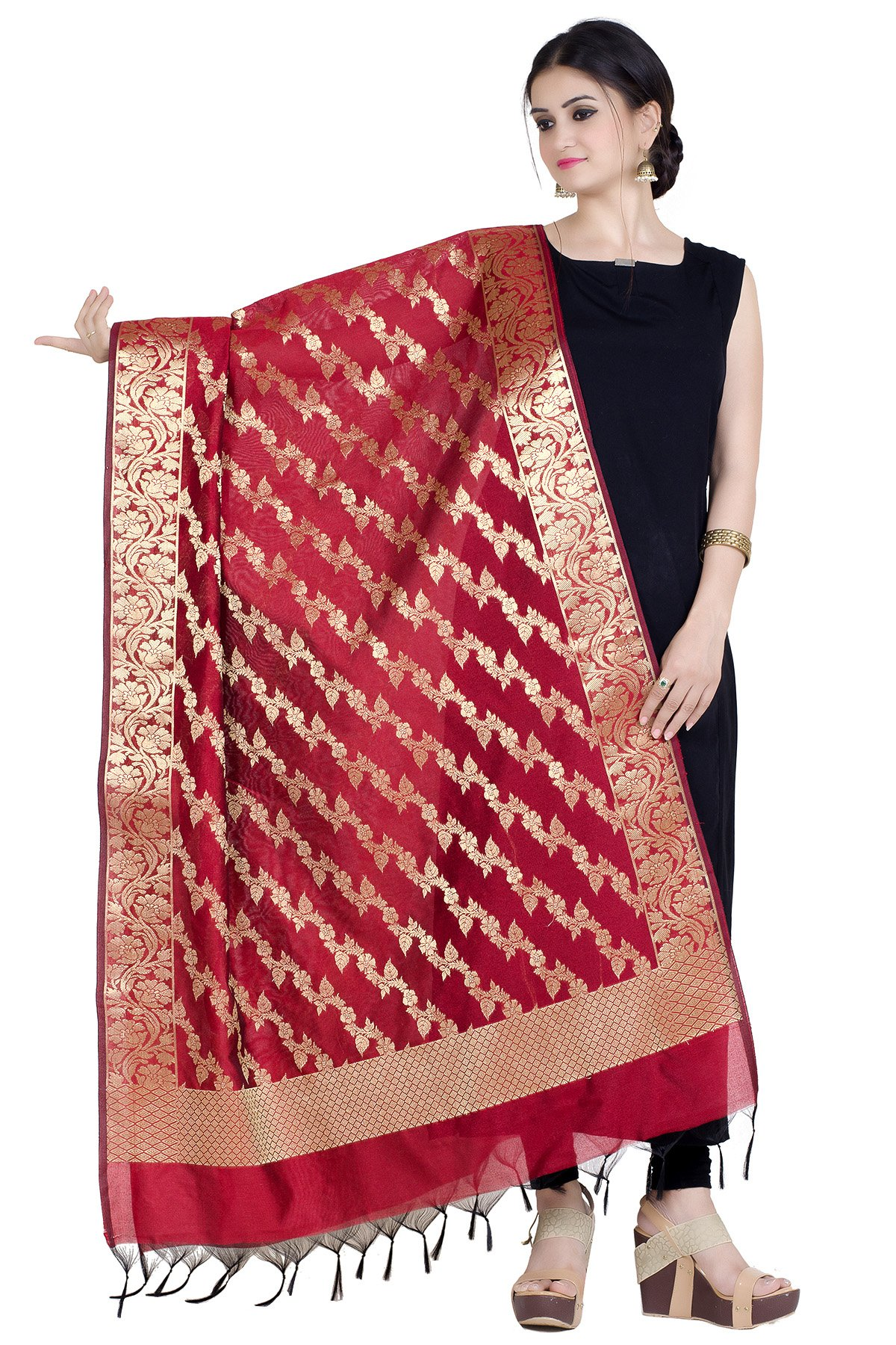 Chandrakala Women's Handwoven Zari Work Banarasi Dupatta Stole Scarf (Red)