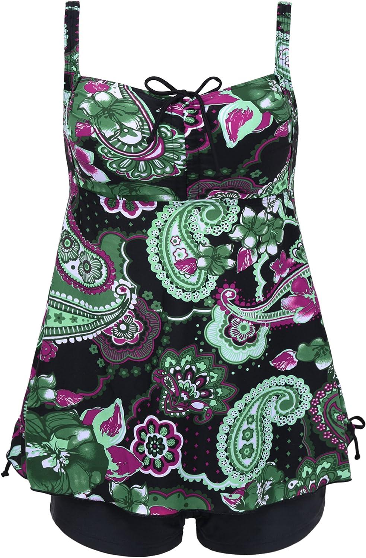 Septangle Women's Plus Size Bathing Suits Paisley Print Two Piece Swimsuit