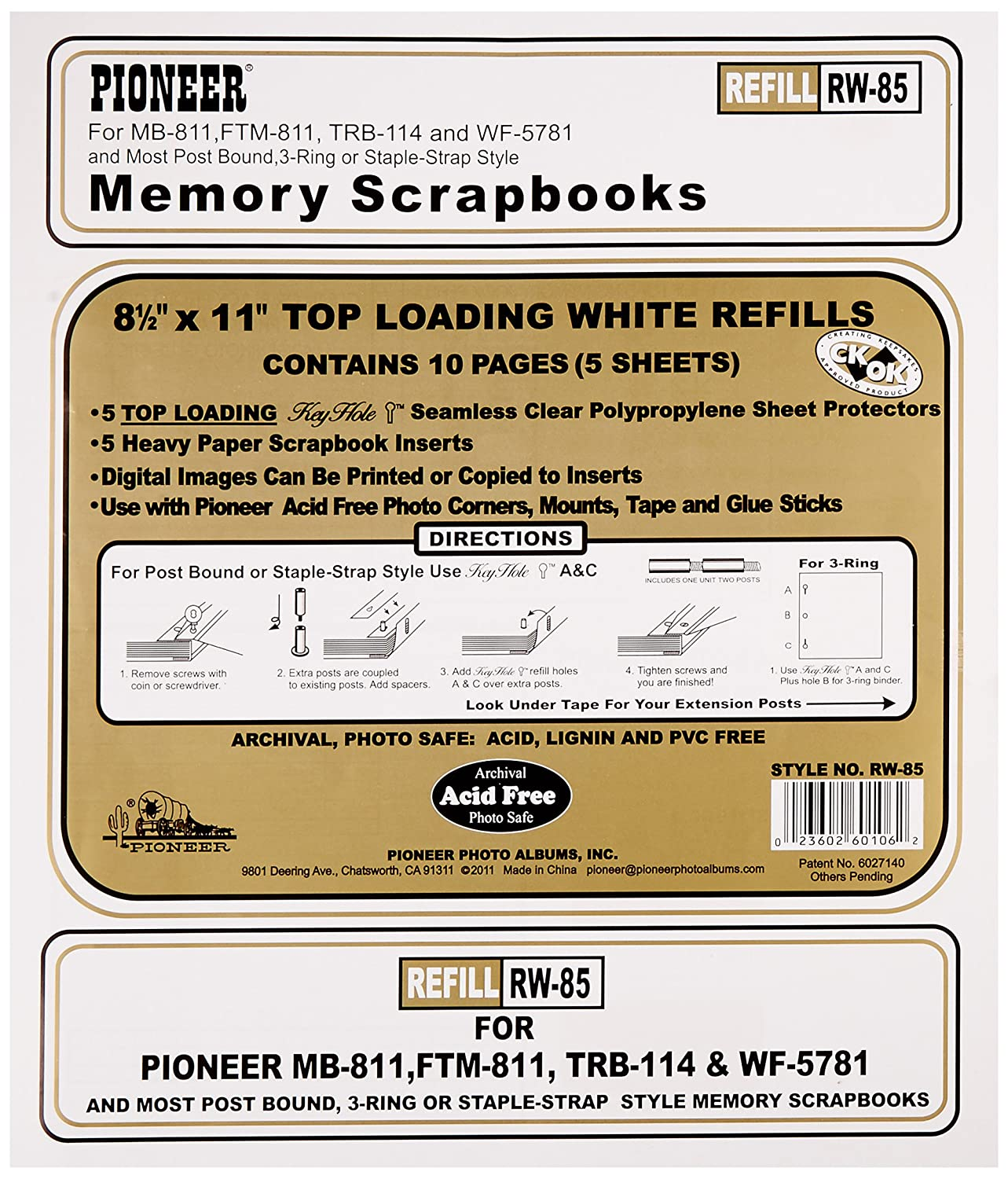 Pioneer Photo Albums Rw85 8.5 X 11 White Top Loading Scrapbook Refill Pages 4336978192