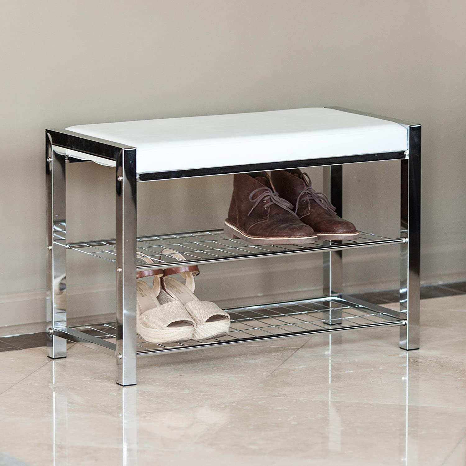 HA16832 White Leatherette Entryway Shoe Storage//Organizer Rack and Bench with Chrome Frame Danya B