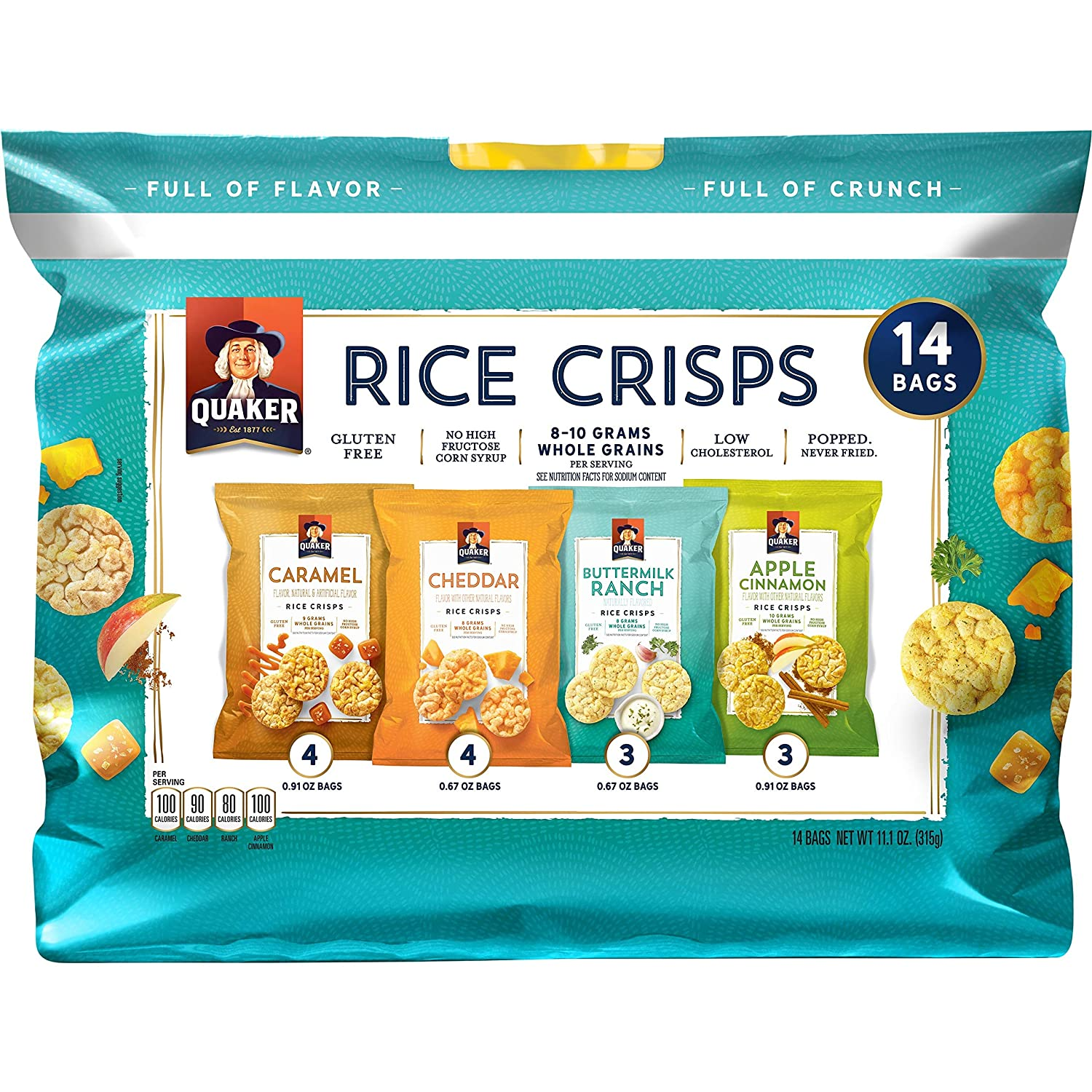Quaker Rice Crisps Sweet & Savory, 5 pack of 14 count (total 70 count)