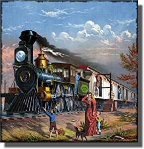 Old Steam Engine Train Locomotive Picture on Stretched Canvas, Wall Art Decor Ready to Hang!.