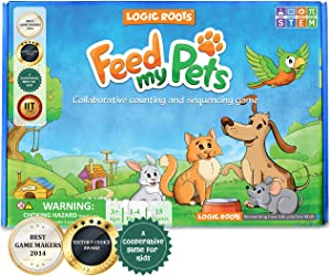 Logic Roots Feed My Pet Early Math Board Game - Fun Toy for 3 - 5 Year Olds, Number Recognition, Sequencing & Counting Games, Perfect Gift for Girls & Boys, Homeschoolers, Kindergarten, toddler & Up