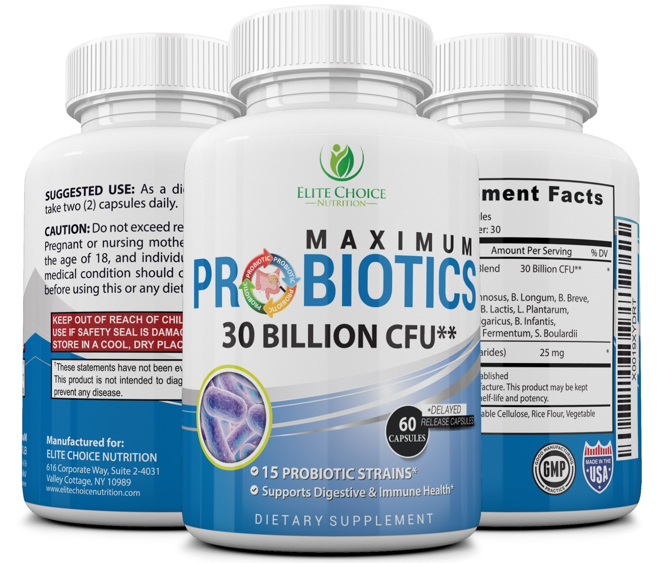 Maximum Probiotic Pills with Prebiotics - 30 Billion 15 Strains - Weight Loss & Digestive Health Support - High Potency – Suitable for Men & Women - with 60 Patented Delayed Release Capsules
