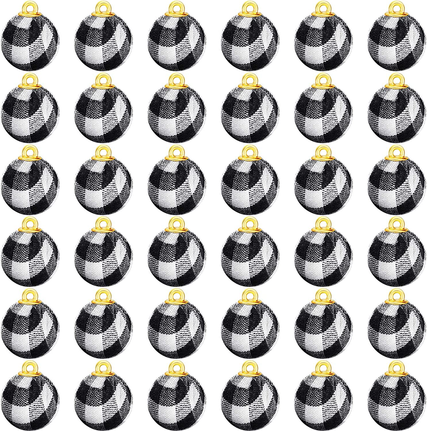 36 Pieces Christmas Plaid Ball Ornaments Buffalo Check Fabric Wrapped Balls Christmas Tree Hanging Pendants for Holiday Presents Christmas Party Supplies (White and Black,2.5 cm)