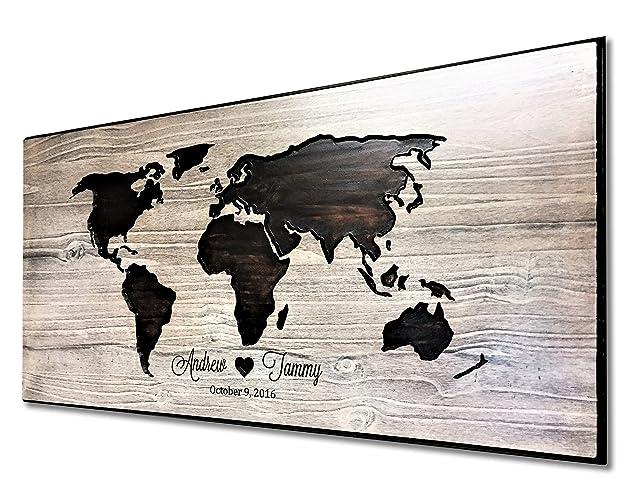 Amazon com: World Map Art, Wood Wall Art, Carved, 3D Wall Art