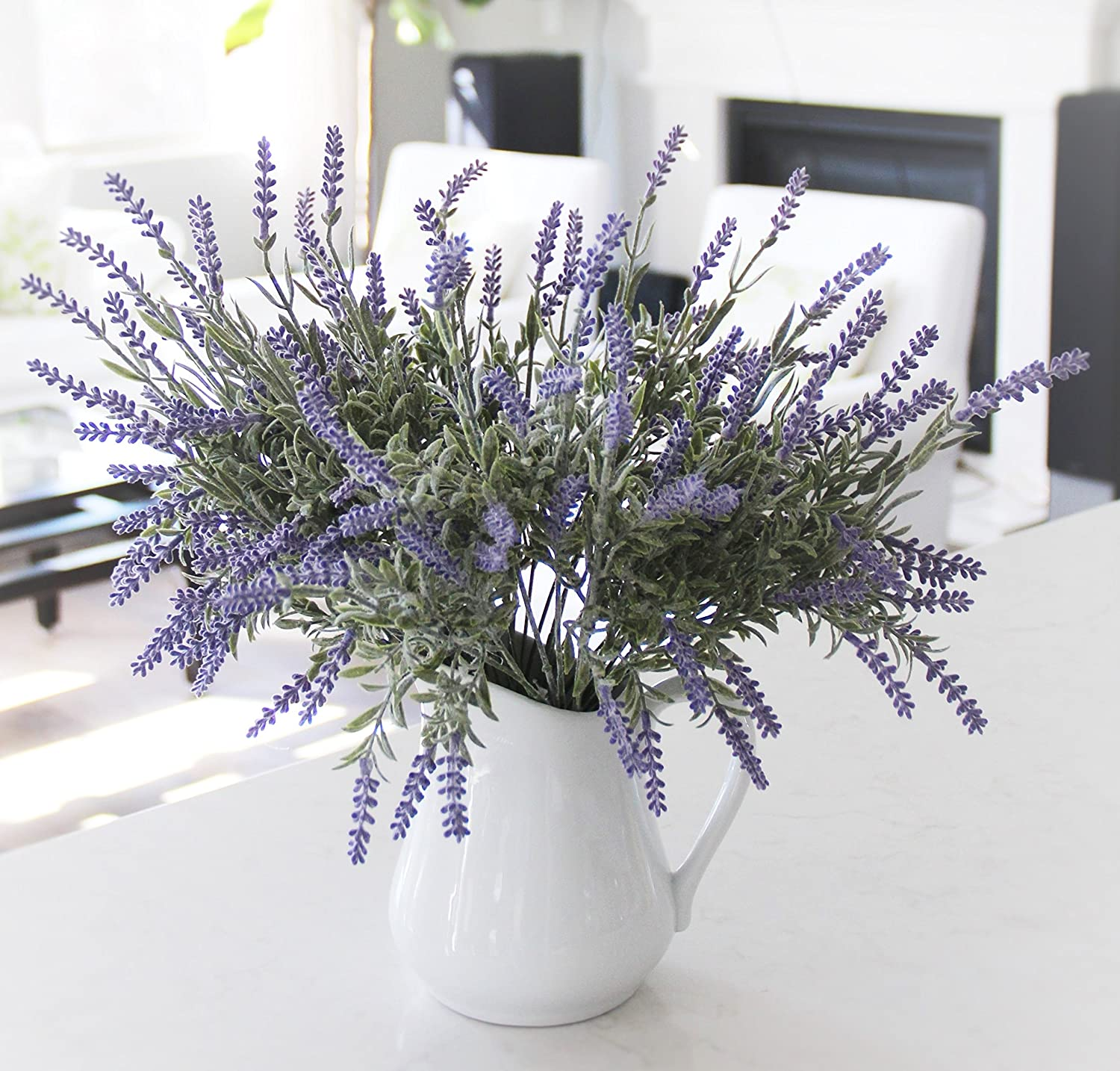 Amazon 8 bundle artificial flower purple lavender bouquet amazon 8 bundle artificial flower purple lavender bouquet with green leaves for home party decorations home kitchen reviewsmspy