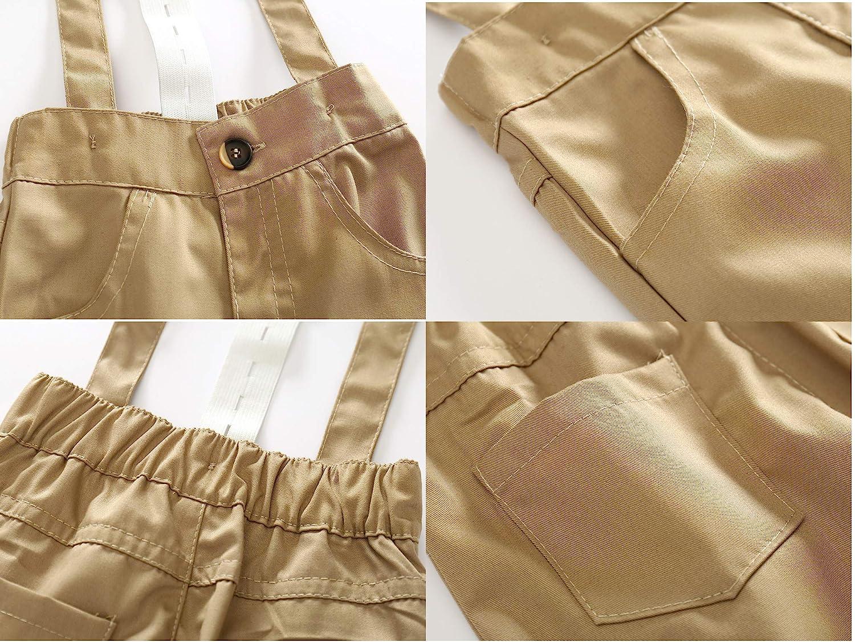 JIANLANPTT Baby Boy Dress Outfit Formal Long Sleeve Shirt Overalls Set