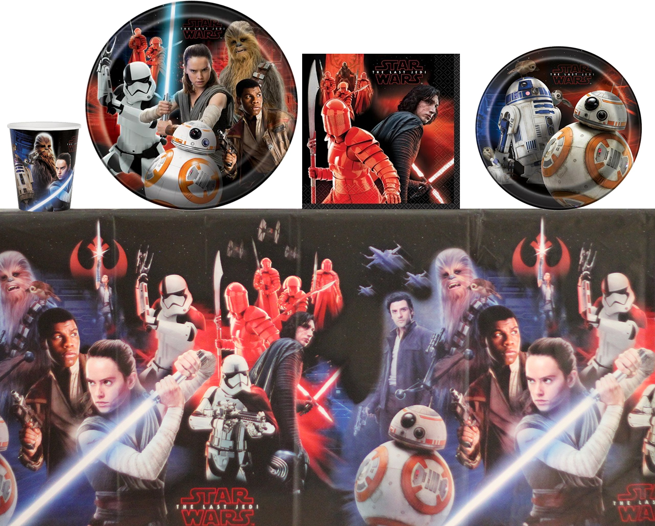 Star Wars Party Supplies: Big and Small Plates, Cups, Napkins, Table Cover - Kit for 16 Guests
