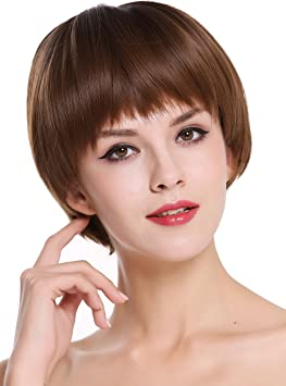 Wig Me Up D3061r 10 12r4 Perruque Dame Courte Coupe Carre Avec Frange Lisse Melange Brun Amazon Fr Beaute Et Parfum