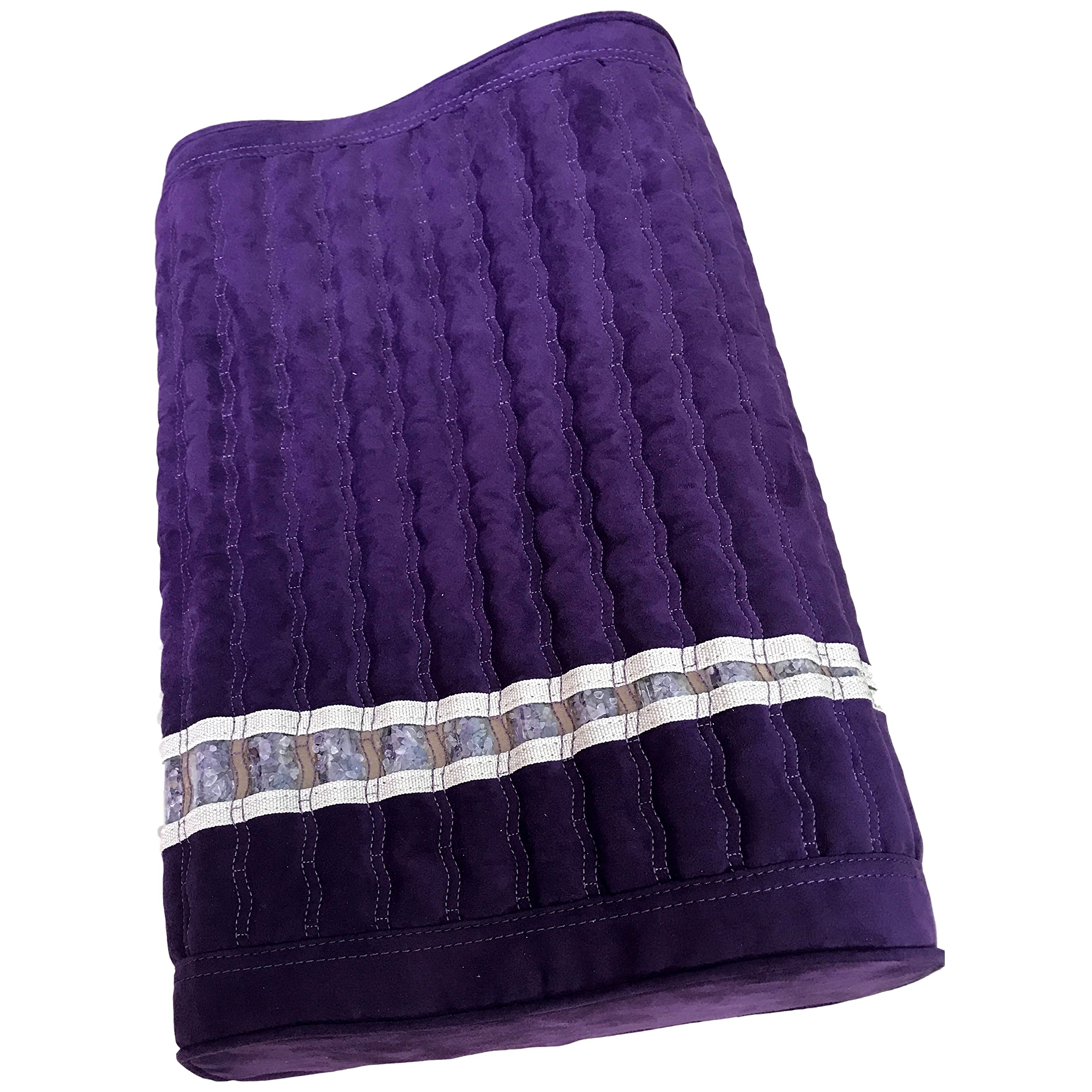 Far Infrared Amethyst Mat Pillow - Emits Negative Ions - Crystal FIR Rays - 100% Natural Amethyst Gemstones - Non Electric - For Headache and Stress Relief - To Sleep Better - GENTLE support - Purple by MediCrystal (Image #2)