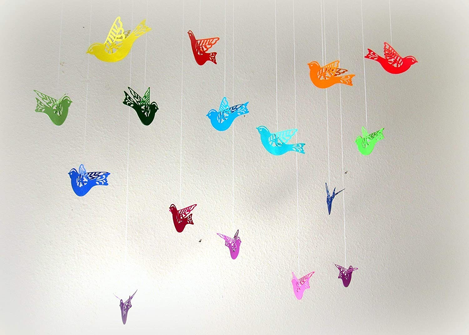 Amazon Com Set Of 16 Rainbow Colored Paper Flying Hanging Birds