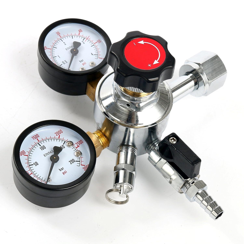 YaeBrew Dual Gauge Co2 Draft Beer Dispensing Regulator Chrome plated Brass CGA-320 Yaemart Corportation TEK-KI-0001