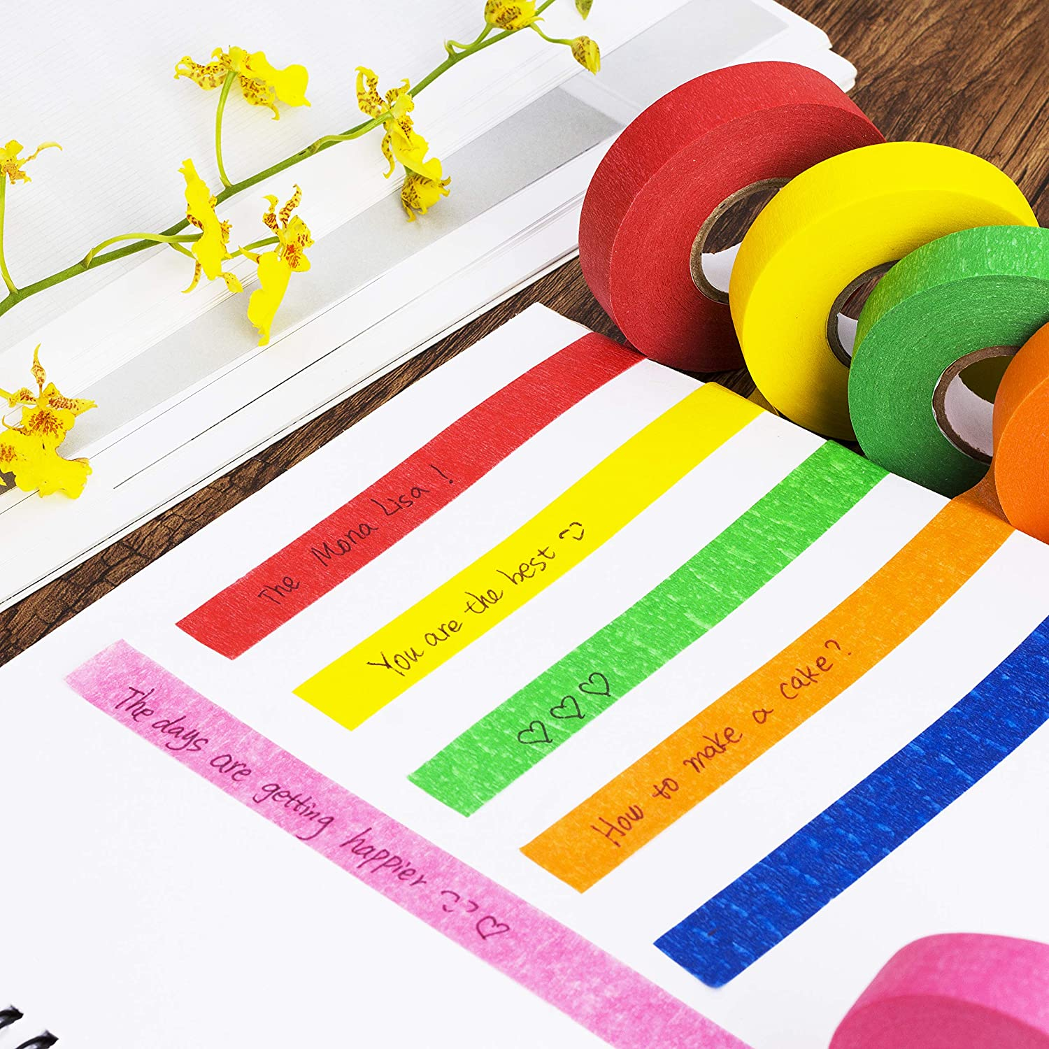 Colored Tape Art Tape Pen- Colored Masking Tape 6 Pack Drafting Tape Labeling Tape Artist Tape Paper Tape Mr Colored Painters Tape for Arts and Crafts Masking Tape Craft Tape Colorful Tape