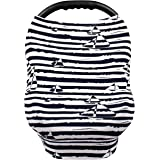 Nursing Cover – Breastfeeding Cover Scarf - Baby Car Seat Canopy, Shopping Cart, Stroller, Carseat Covers for Girls and Boys – Boats - Navy and Stripes