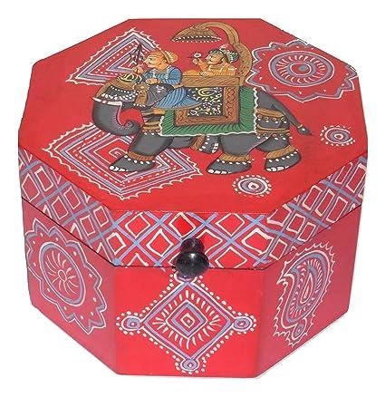 Caja de almacenamiento de madera octogonal con elefante rojo pintado a mano en la India