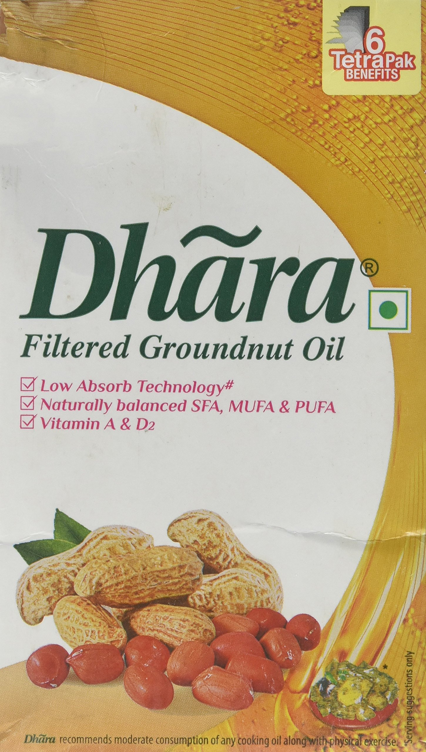 Dhara, Filtered Groundnut Oil, 910 Grams(gm)