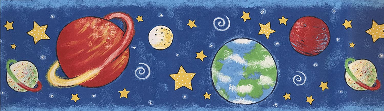 Outer Space Planets Stars Navy Blue Wallpaper Border For Kids Roll