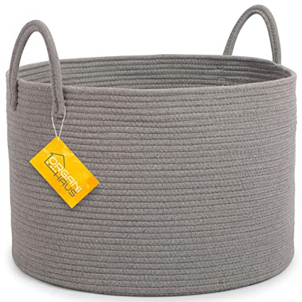 "42a9de736a25 OrganiHaus XXL Extra Large Grey Cotton Rope Basket | 20""x13.5""  Blanket"