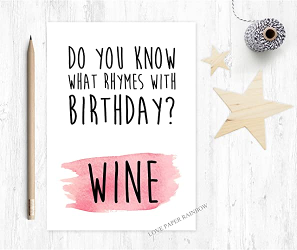 Wine Birthday Card Funny Birthday Card Girlfriend Birthday Card