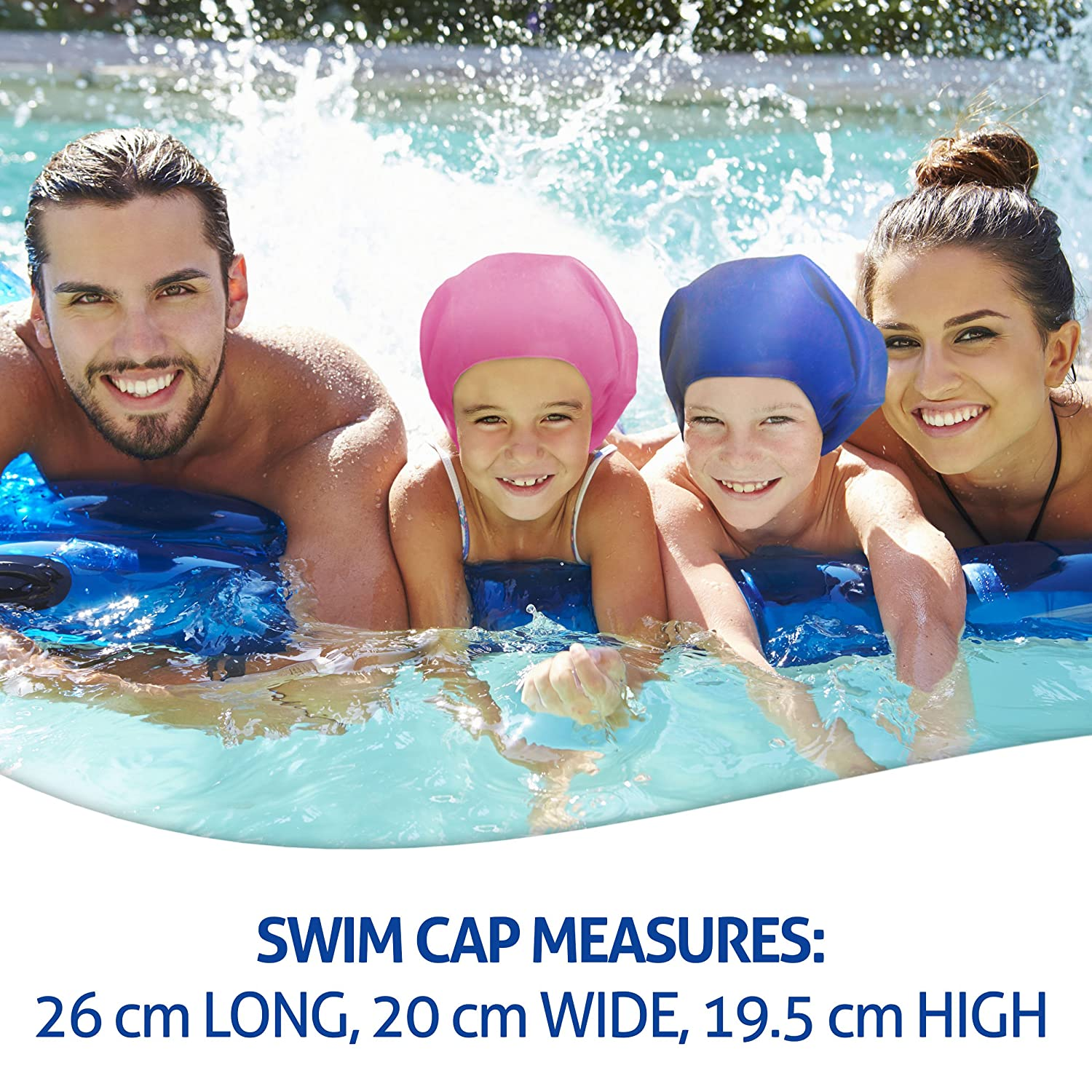 Specially Designed for Swimmers with Long Ear Plugs Thick or Curly Hair Swimtastic/® Long Hair Swim Cap