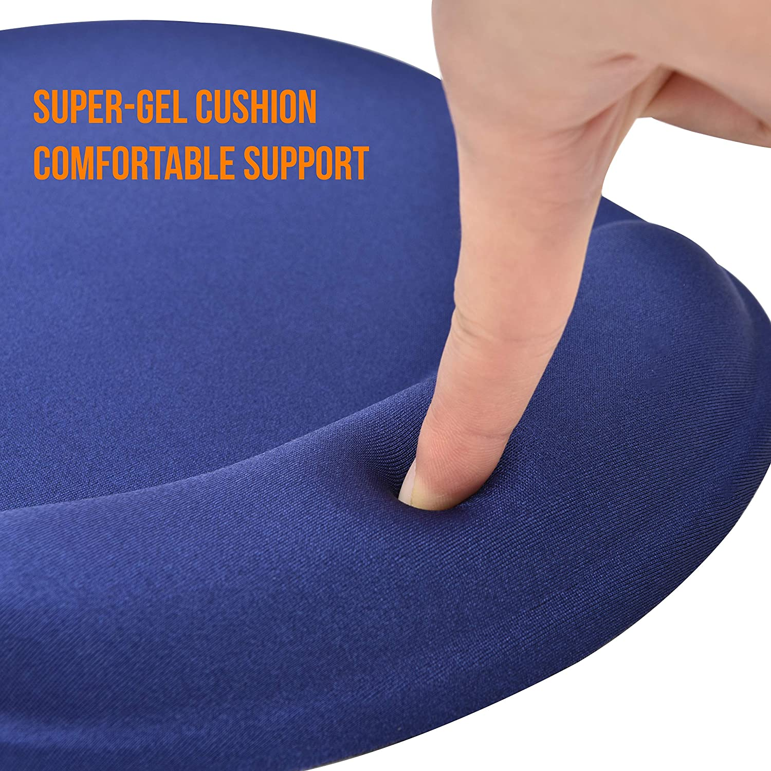 Smooth Luxurious Lycra Surface and Non-Skid Backing DAC Super-Gel Ergonomic Mouse Pad with Wrist Support Long Curved Cushion Soft Gel Cushion Blue
