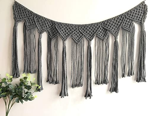 Youngeast Handmade Boho Macrame Wall Hanging Home D cor Woven Tapestry 39.5 x 15.7 Inches Grey