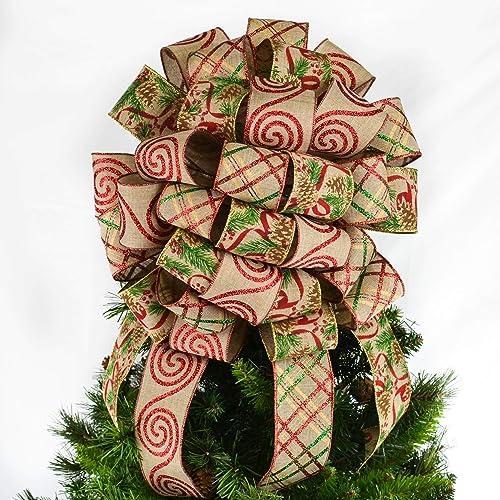 Christmas Tree Bow.Burlap Tree Topper Bows Christmas Tree Bow Big Present Bow Red Burlap Holly Berries Tb16