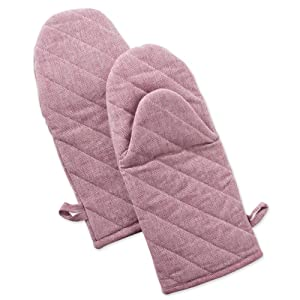 """DII Cotton Chambray Oven Mitts, 13x6"""" Set of 2, Machine Washable and Heat Resistant for Kitchen Cooking and Baking-Rose Pink"""