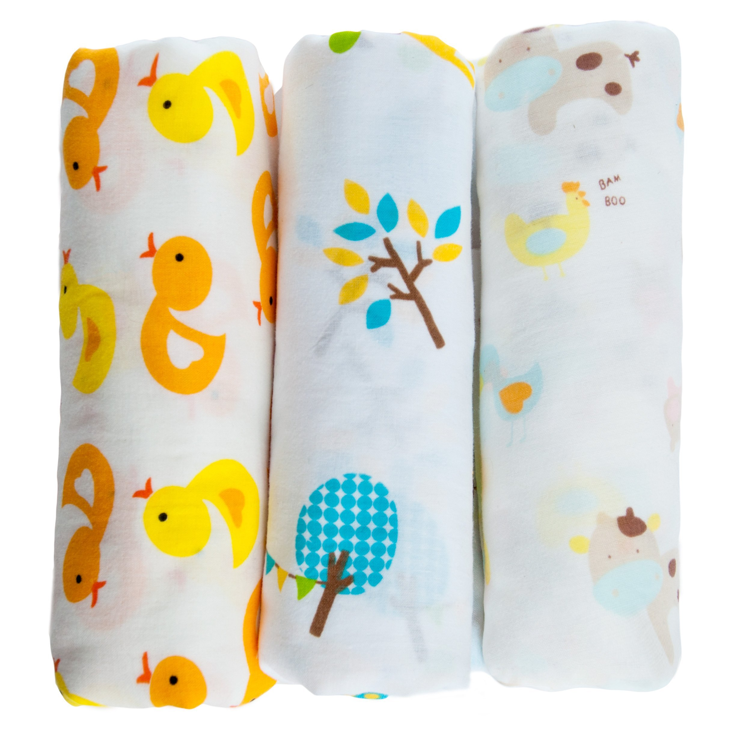 """Snuggie Buggies Organic Muslin Cotton Baby Swaddle Blankets, 47""""x47"""" (3 Pack) – Bright Colors and Animals Collection"""