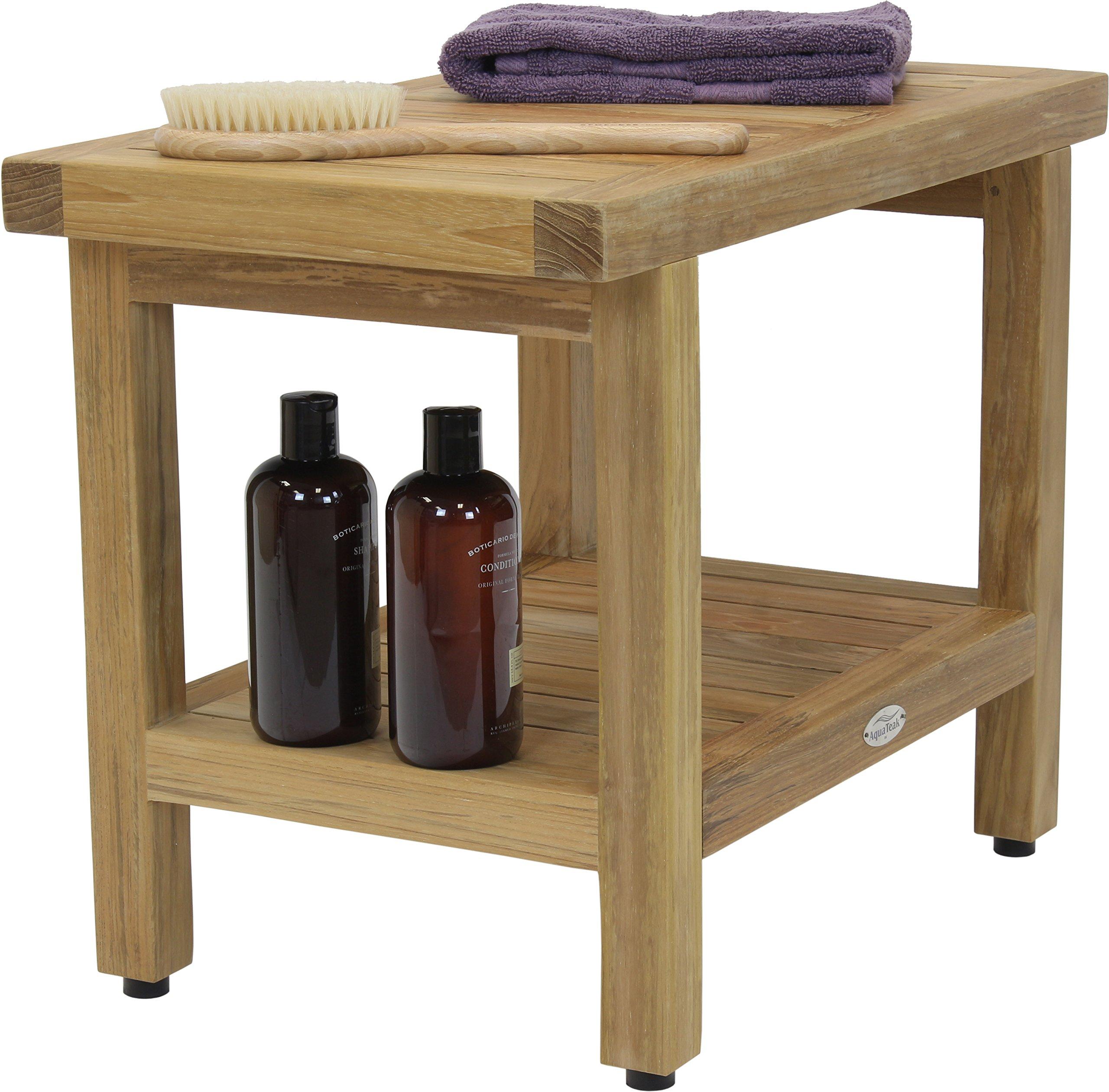 24'' Spa Natural Teak Shower Bench with Shelf by AquaTeak (Image #1)
