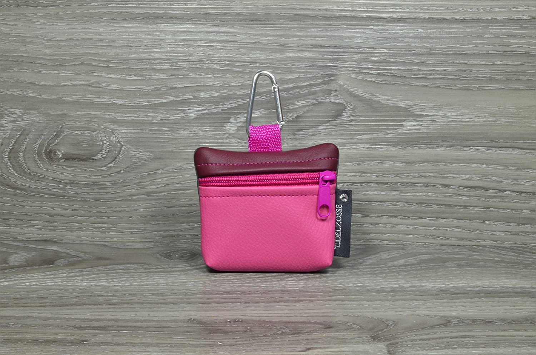 Edelzosse Mini-Gassibeutel &Leckerlitasche Bordeaux- Pink Kunstleder
