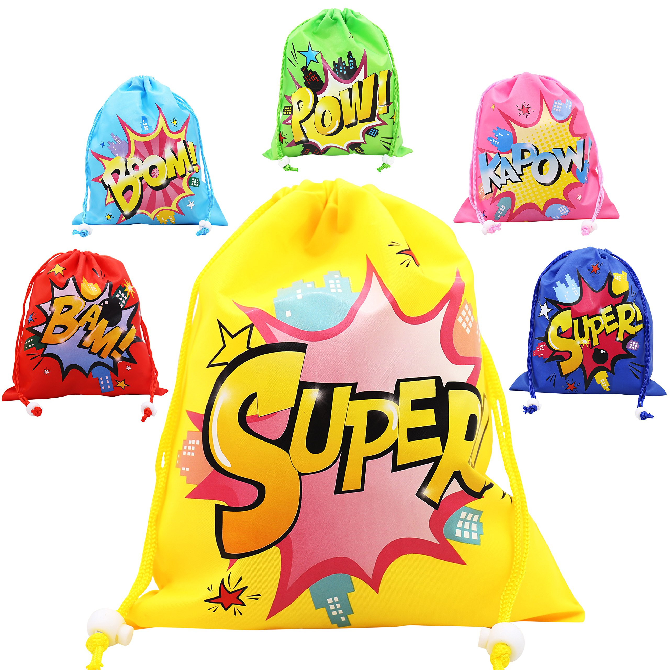 CiyvoLyeen Superhero Drawstring Bags Party Favors Bags (12 Pack), Personalised Birthday Fabric Party Goodie Bag Gift for Kids Boys & Girls