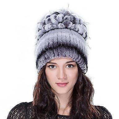 URSFUR Women s Rex Rabbit   Fox Fur Hat Knit Beanie Cap with Fur Ball  Pompom Top 6c2bb25b107