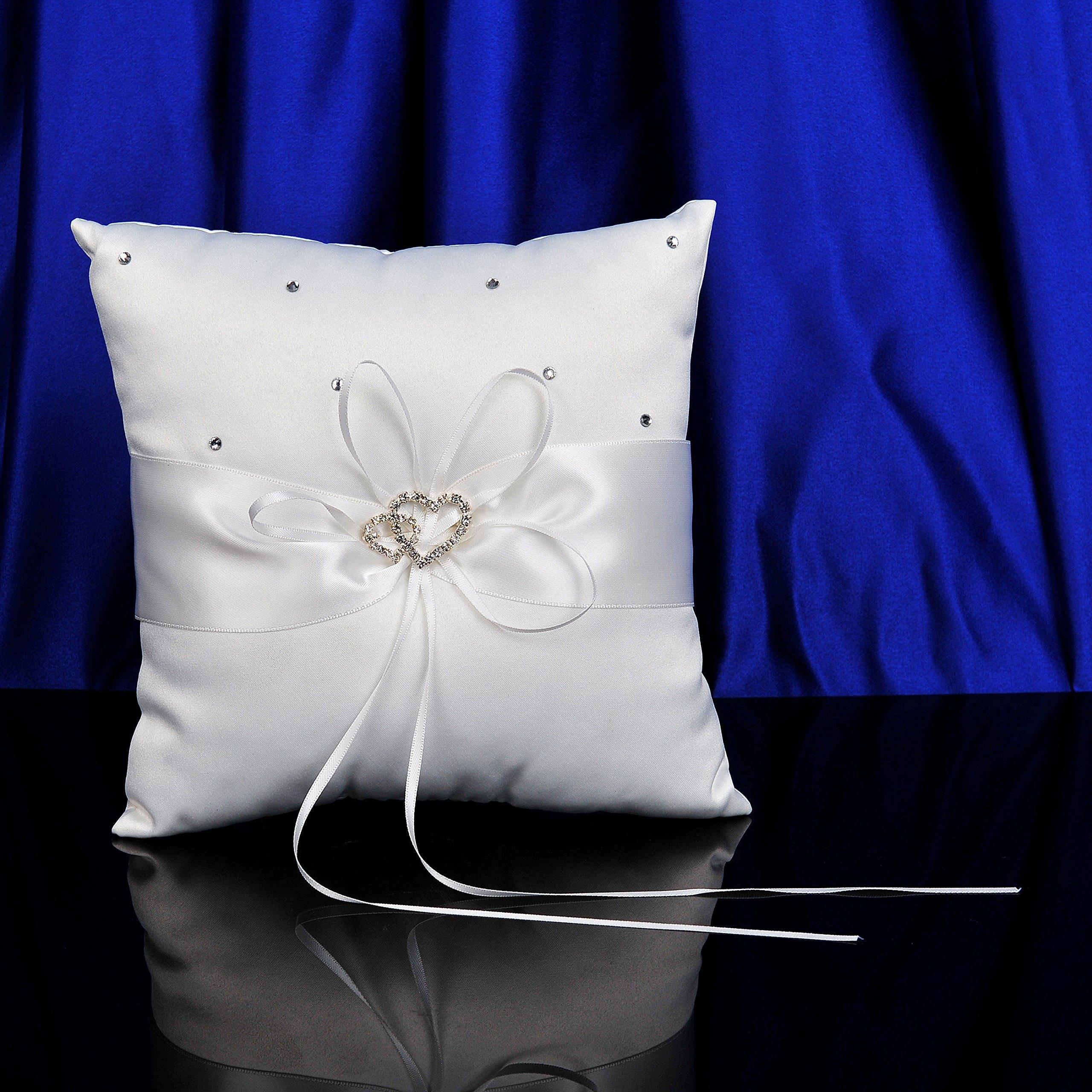 AWEI Wedding Ring Bearer Pillow - Ivory Satin Cushion Bearer 7.5 Inch with Double Hearts by AWEI