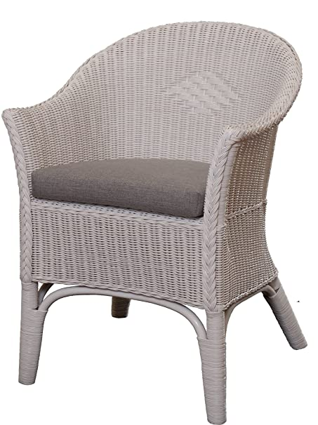 rattan armchair natural in colour white including grey seat cushion