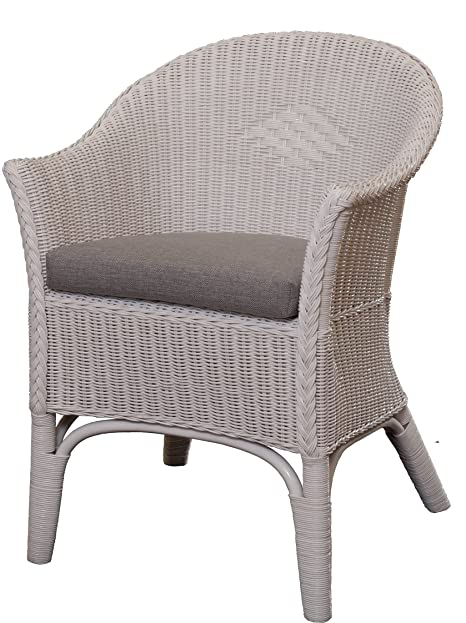 Rattan-Sessel Natur in der Farbe Weiss inkl. Polster Grau ...
