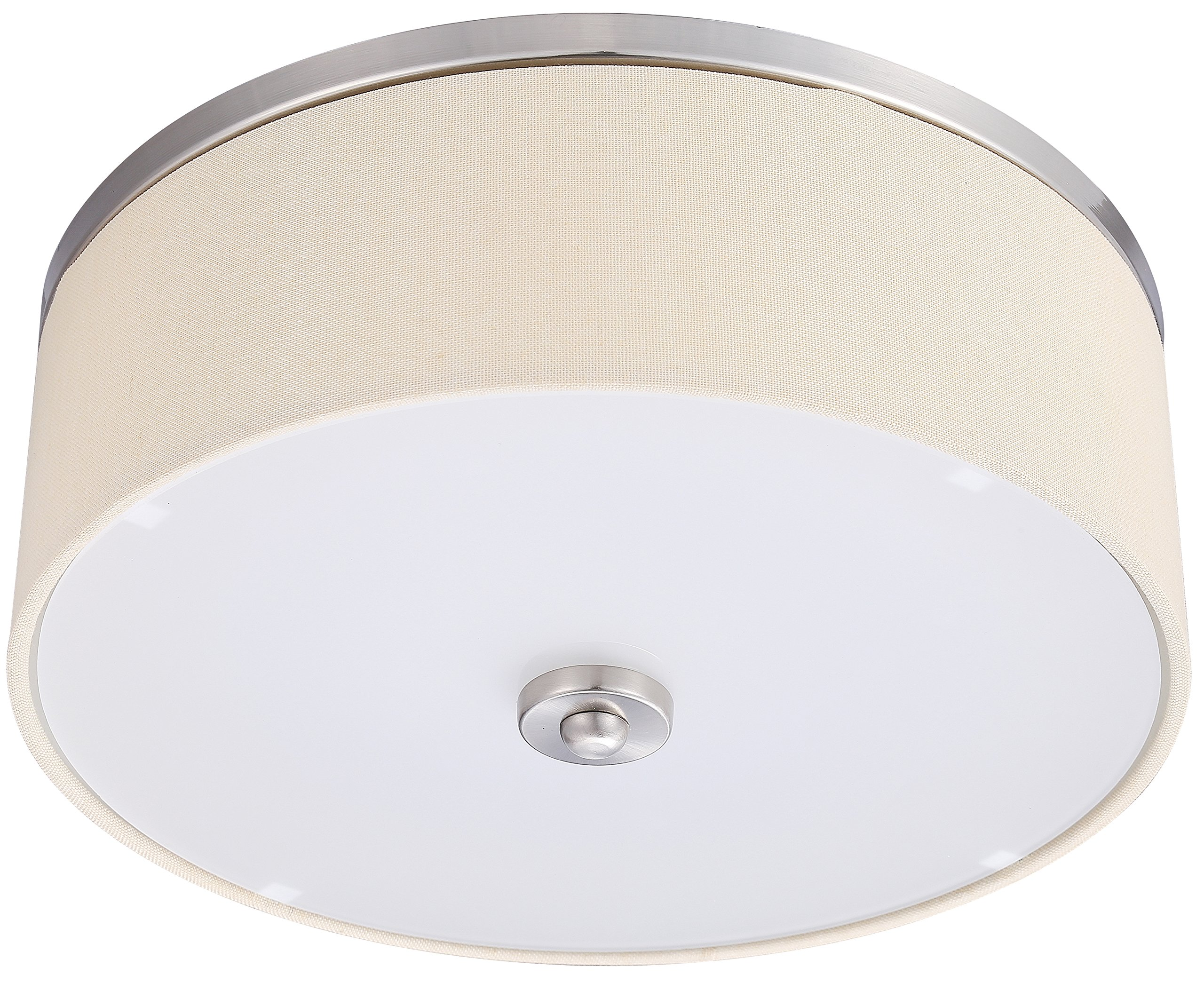 LB72154 LED Flush Mount Fabric Light, 17-Inch Brushed Nickel with Bisque Drum Shade, White Lens, 4000K Dimmable, 1600 Lumens, Ceiling Fixture