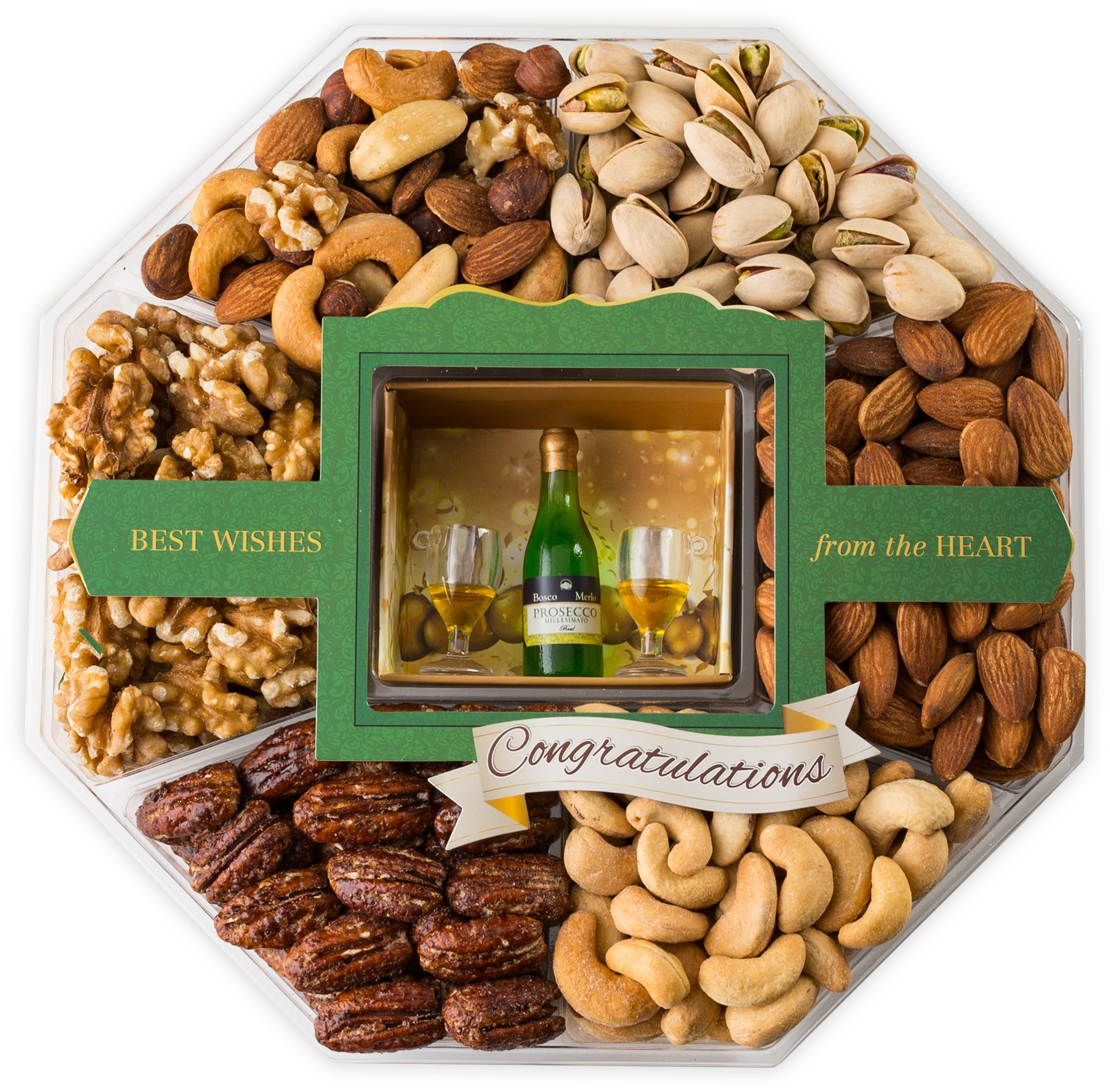 LARGE 6 Sectioned Congratulations Gourmet Food Gift Basket – Contains a Fine Assortment of Fresh Almonds, Pistachios, Cashews and More in an Stylish 3D Gift Container. Great Gift Idea! (Mini Wishes)