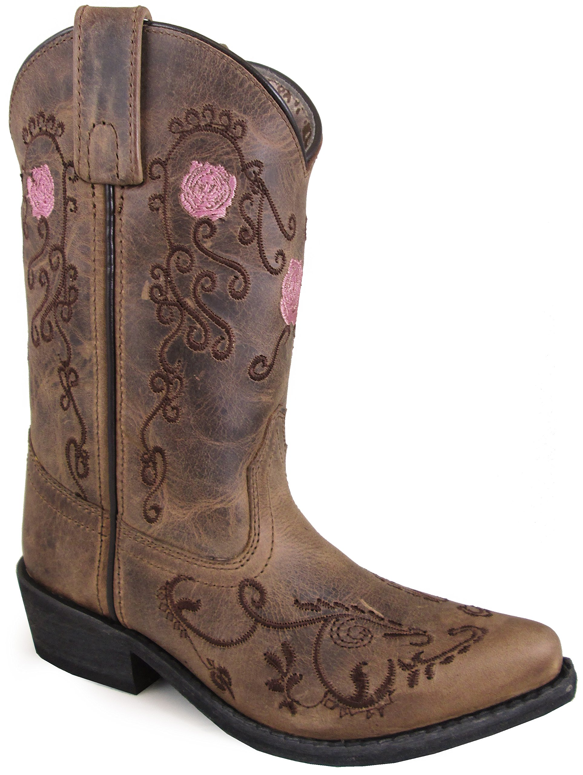 Smoky Mountain Youths' Rosette Pull On Embroidered Floral Snip Toe Brown Oil Distress Boots 4.5M