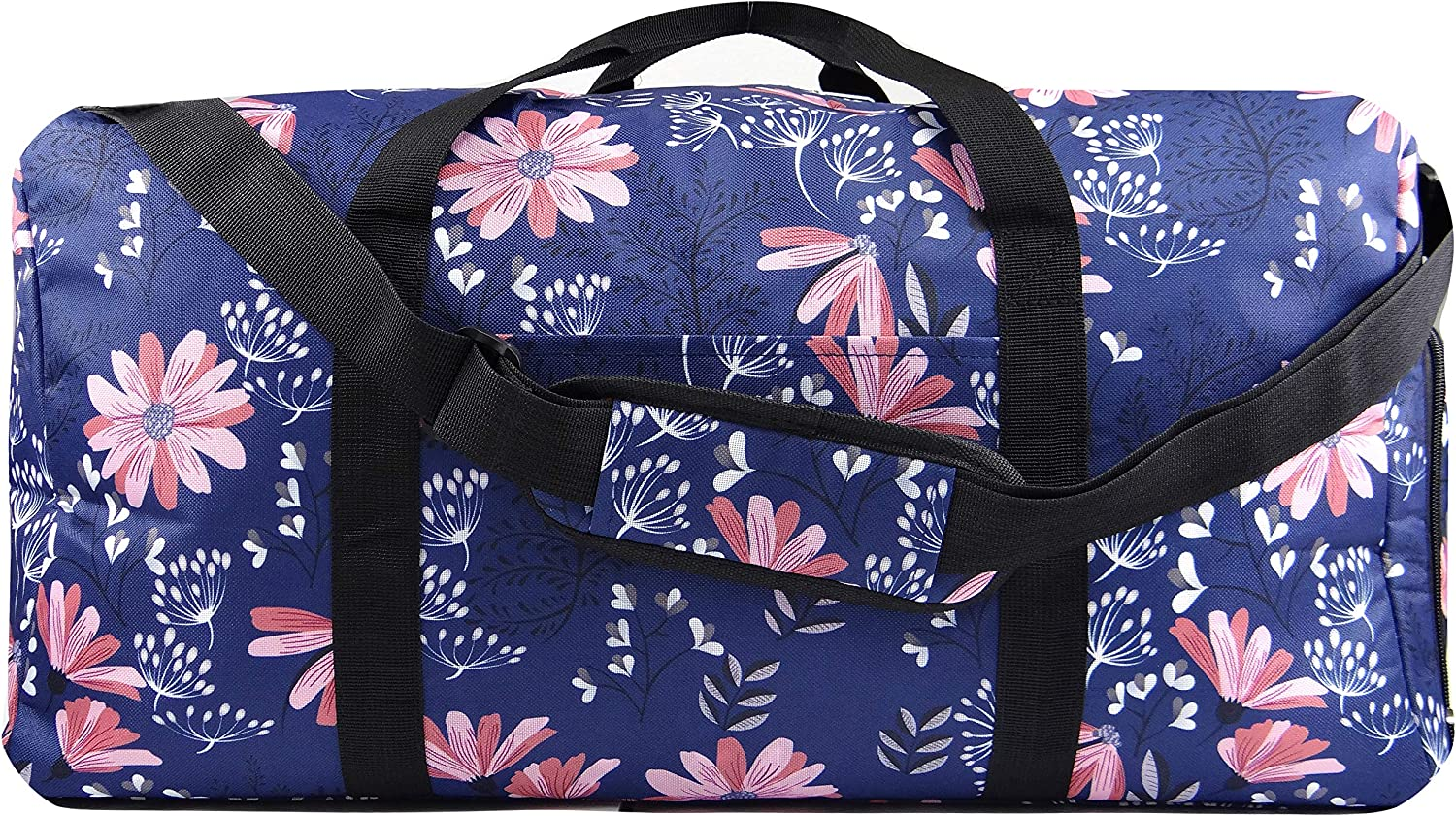 AEV 22 Women s Weekender Duffel Bag with Shoe Pocket, Navy Floral. Versatile as a Weekender or Overnight bag. Carry-on shoulder strap. Sale Today