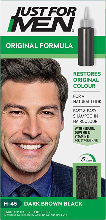 Just For Men Original Formula Dark Brown Black Hair Dye Restores Original Colour For A Natural Look H45 Amazon Co Uk Beauty