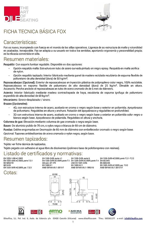 DILE Silla de Oficina Fox con Respaldo Malla Blanca TAPIZADO Asiento Azul Marino: Amazon.es: Hogar