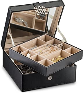 1a723b299 Glenor Co Jewelry Box Organizer - 17 Slot Small Classic Holder with Modern  Closure, Large