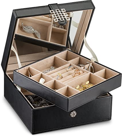 999619270 Glenor Co Jewelry Box Organizer - 17 Slot Small Classic Holder with Modern  Closure, Large Mirror, 2 Trays for Women, Girls & Teens - Storage Case for  ...