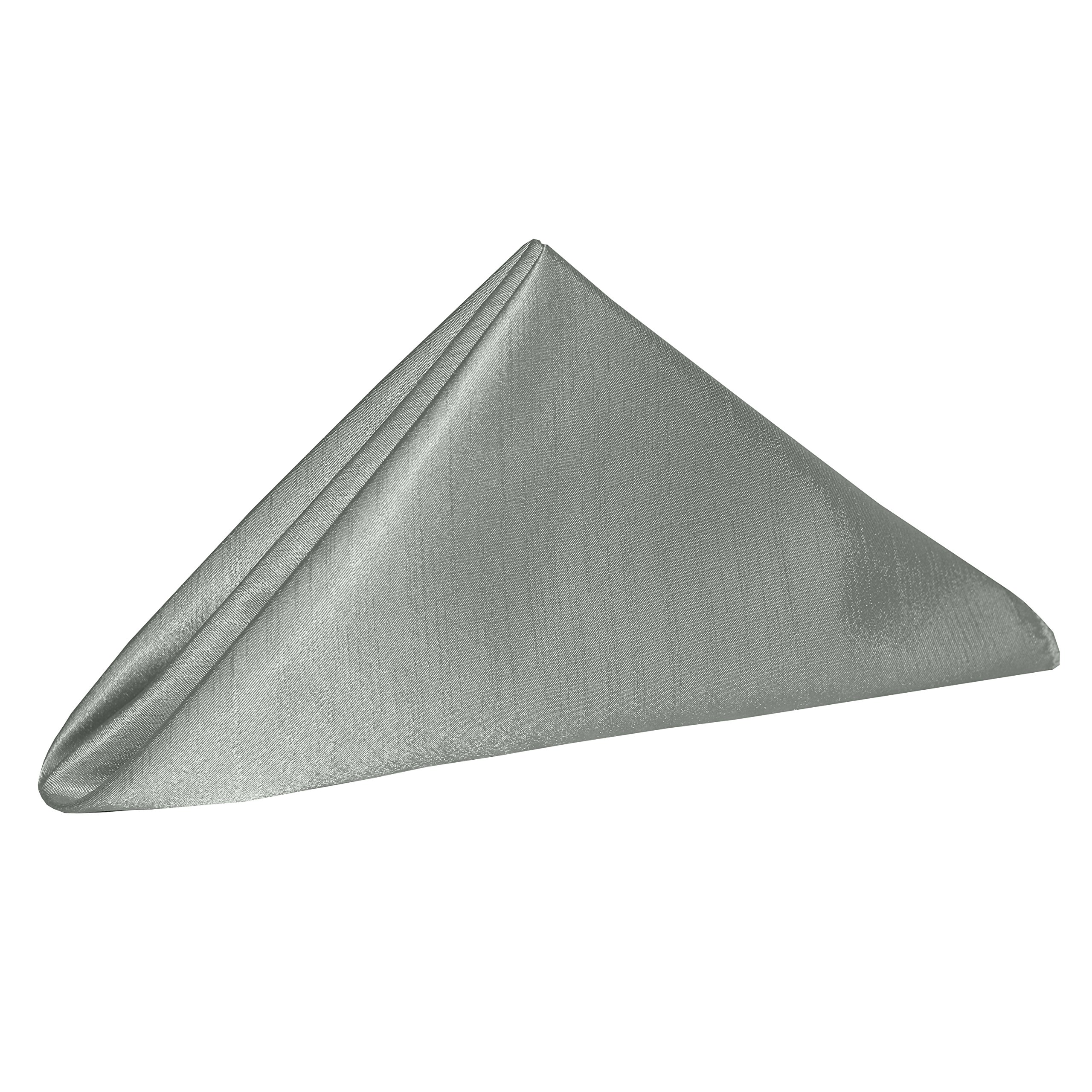 Ultimate Textile -10 Dozen- Reversible Shantung Satin - Majestic 17 x 17-Inch Cloth Napkins, Silver by Ultimate Textile (Image #2)