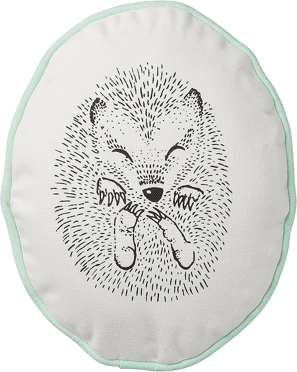 Cotton Pillow with Sleeping Hedgehog with Winter Mint Trim