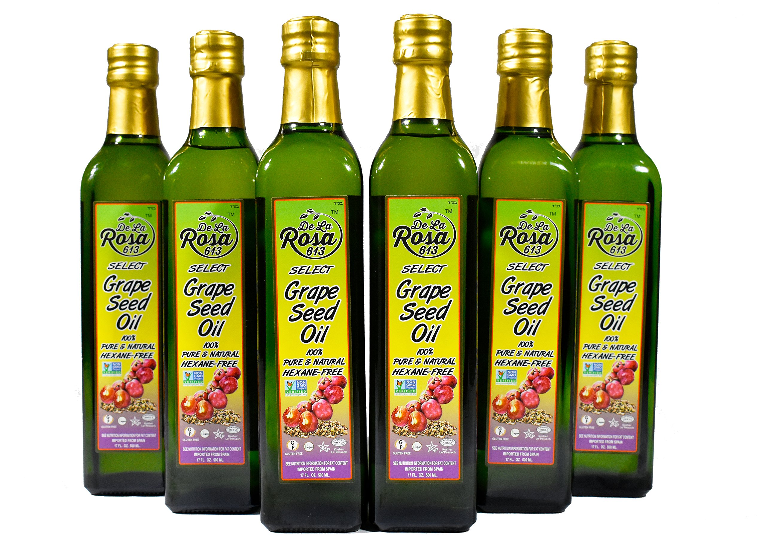 De La Rosa Real Foods & Vineyards - Kosher Non GMO Grape Seed Oil - 500 ml (Pack of 6)